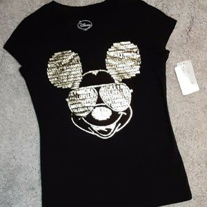 Disney Mickey Mouse Gold Foil Graphic Tee T-shirt